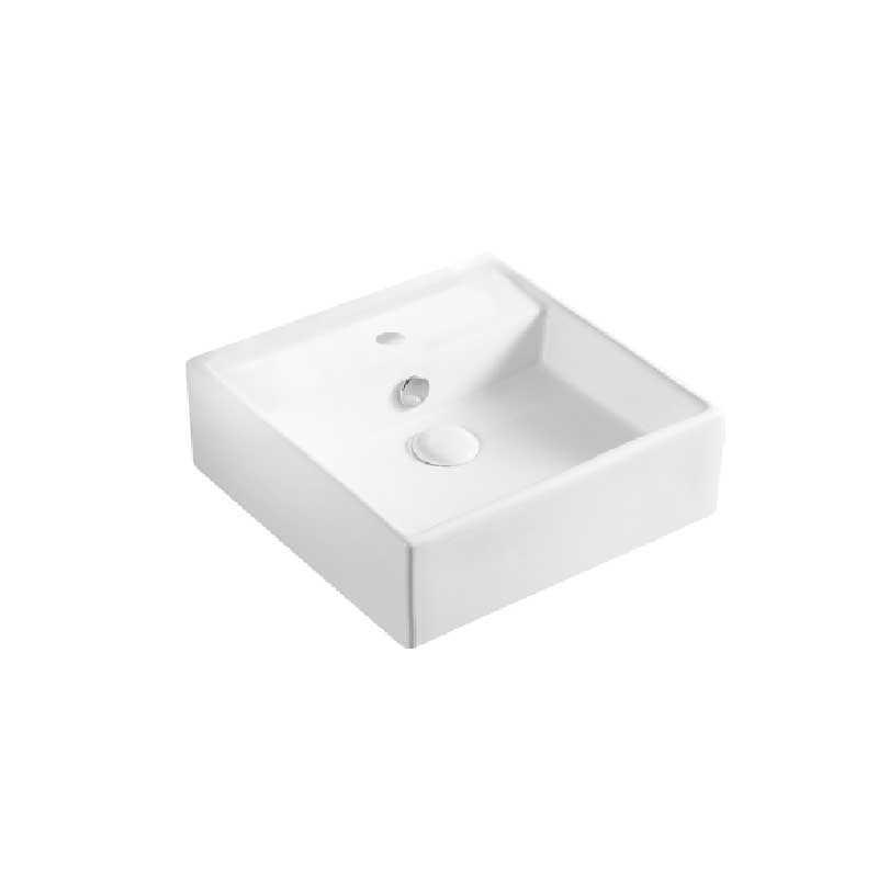 Lavabo d'appoggio o sospeso quadrato ceramica bianca 38x38 H.12,5 cm con troppo pieno