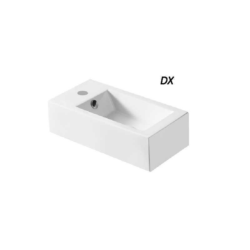 Lavabo d'appoggio o sospeso ceramica bianca altezza 14,5 cm foro rubinetto a sinistra