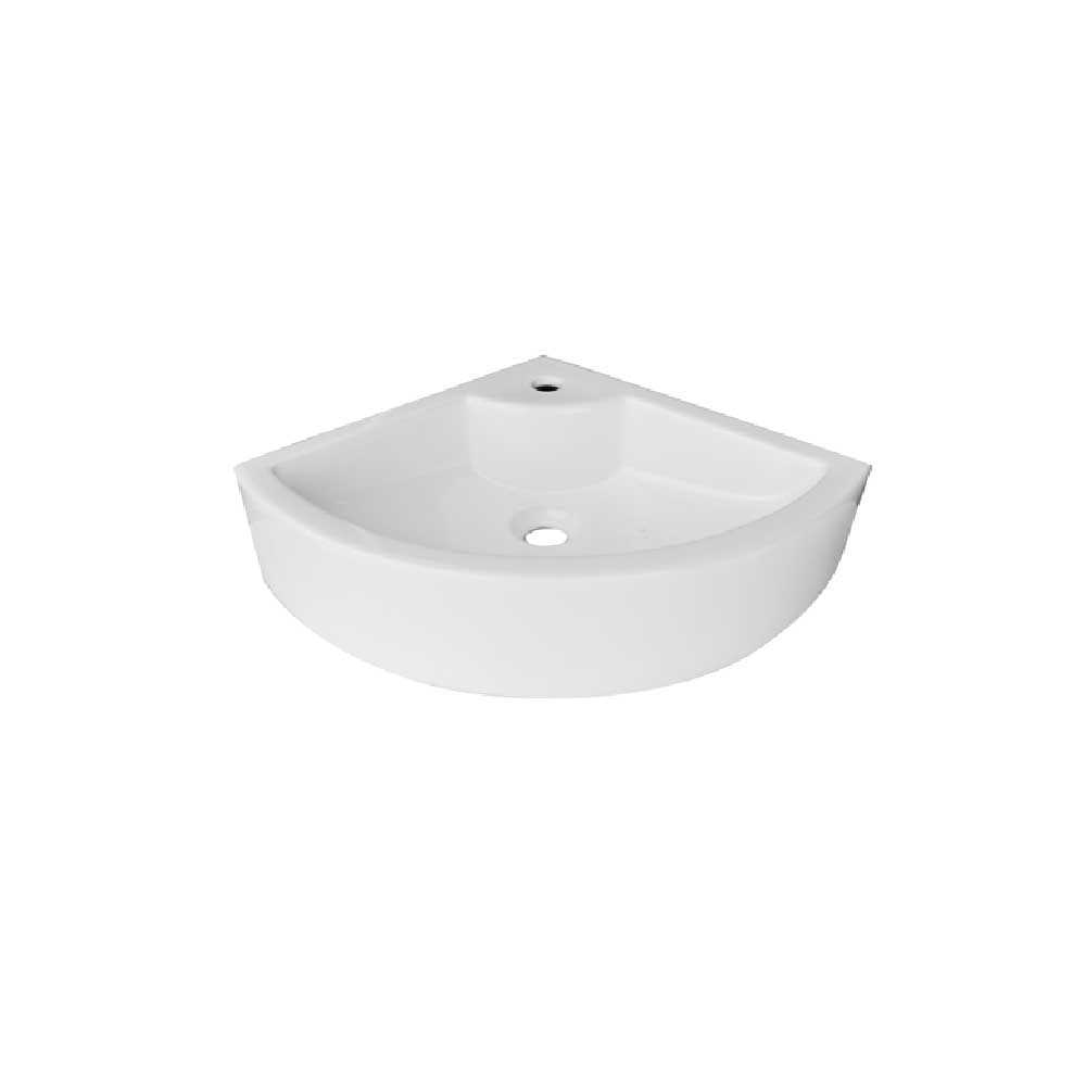 Lavabo ceramica bianca con installazione sospesa ad angolo altezza 12 cm