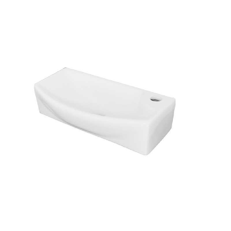 Lavabo rettangolare ceramica bianca installazione a parete 45x223H.12 cm