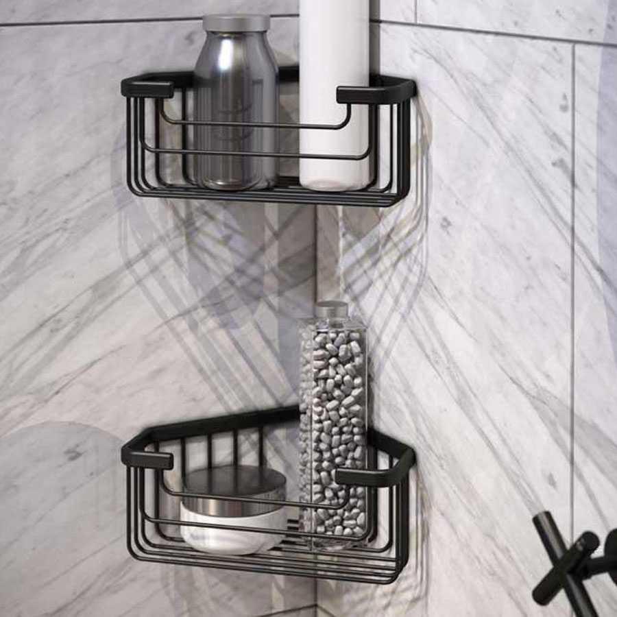 Portaoggetti doccia angolare  Gedy in filo, acciaio inox nero opaco 20x15,1x8 cm