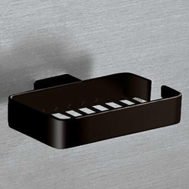 Portasapone singolo in filo Gedy Lounge in alluminio nero cm 14x11x2,5 cm