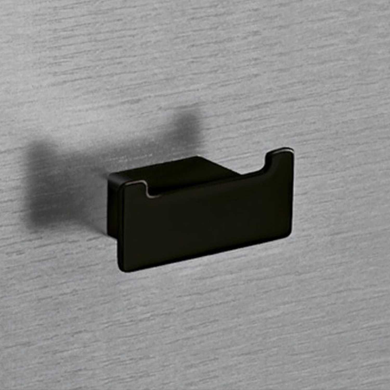 Appendiabiti doppio Gedy Lounge a parete in alluminio verniciato nero opaco