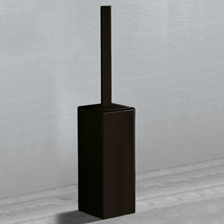 Scopino da appoggio per wc Gedy Lounge alluminio nero opaco con ciuffo in setole