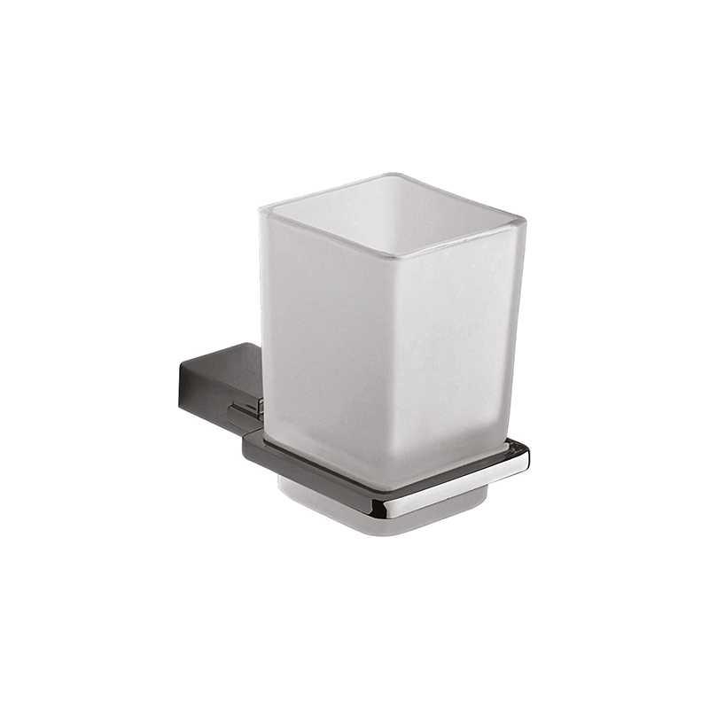 Portaspazzolini a parete Gedy Kansas, contenitore in vetro e struttura in alluminio cromo