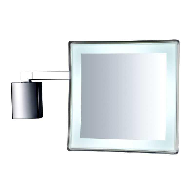 Specchio ingranditore da parete con luce a led Gedy Maldive ottone cromato e tritan