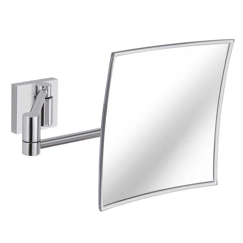 Specchio ingranditore da parete Gedy Maldive ottone cromo cm 21,2x21,2x14,8/44,3