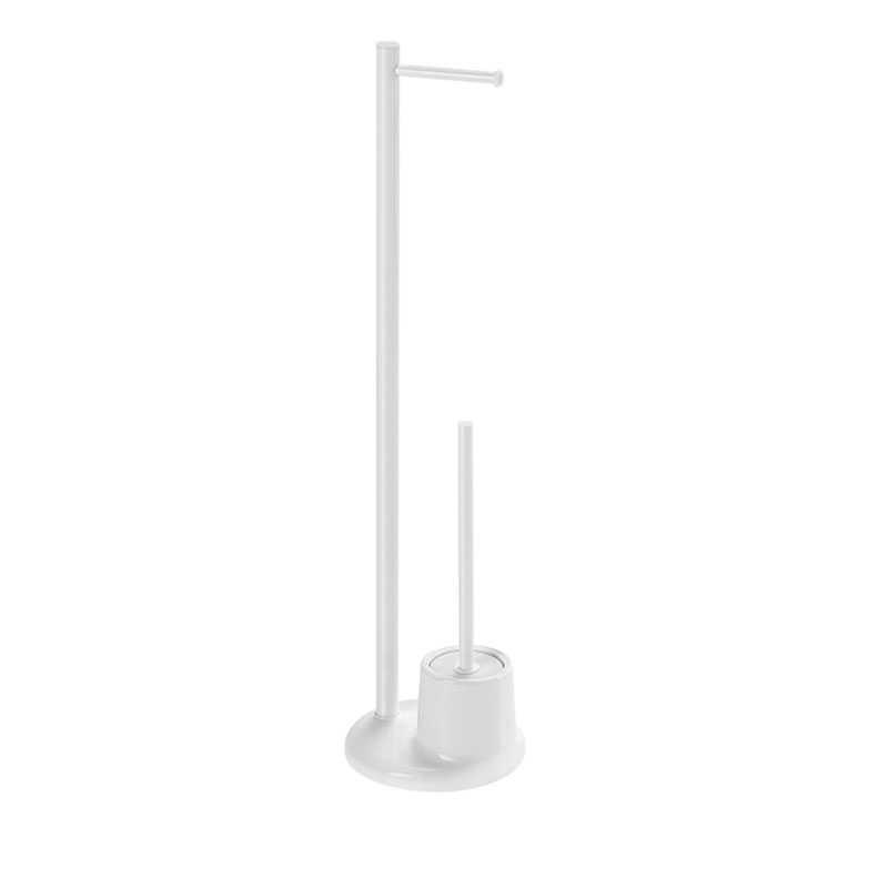Colonnina portarotolo Gedy Mammolo alluminio-acciaio colore bianco con scopino wc 20x20x78,5 cm