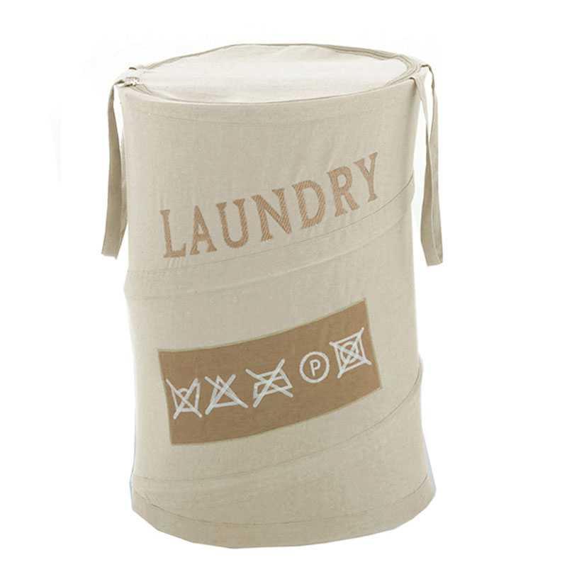 Cesto portabiancheria ecrù Gedy Laundry in metallo, cotone e poliestere