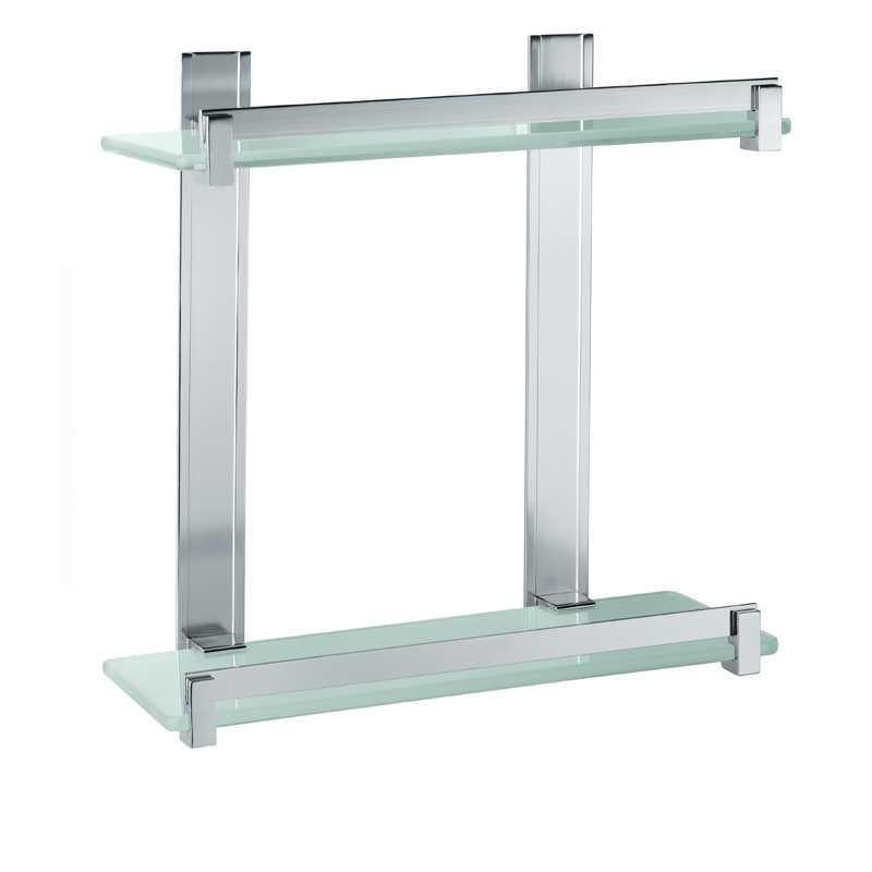Portasapone e oggetti per doccia Gedy Cloud, alluminio e vetro temperato cm 30x14,6x30