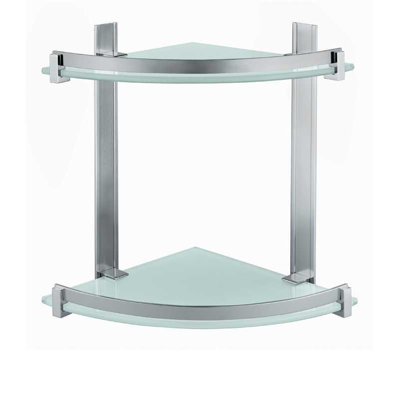 Portasapone e oggetti per doccia Gedy Cloud, alluminio e vetro temperato cm 26x26x30