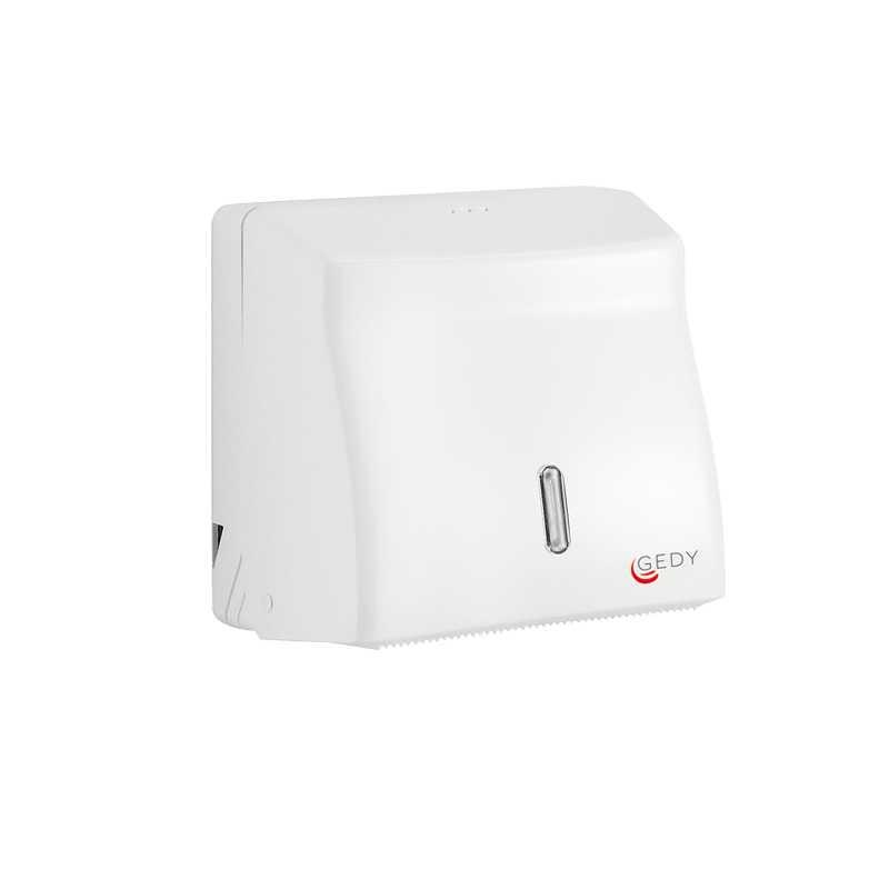 Distributore bianco salviette carta piegate o a rotolo di Gedy. Diametro max 15 cm