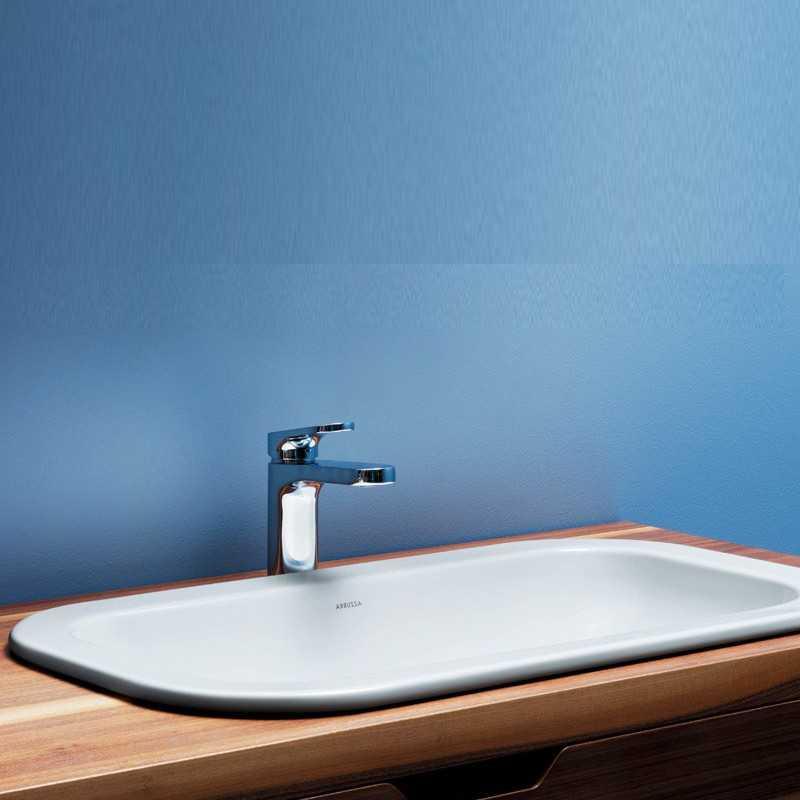 Lavabo Incasso Mod. Glaze cm 50X40 Ceramica Azzurra Design Moderno