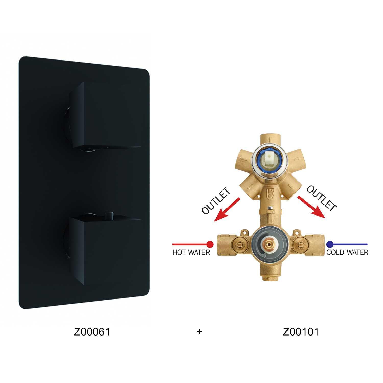 Miscelatore termostatico Bossini 2 uscite in ottone completo di parte incasso e parte esterna nera opaca