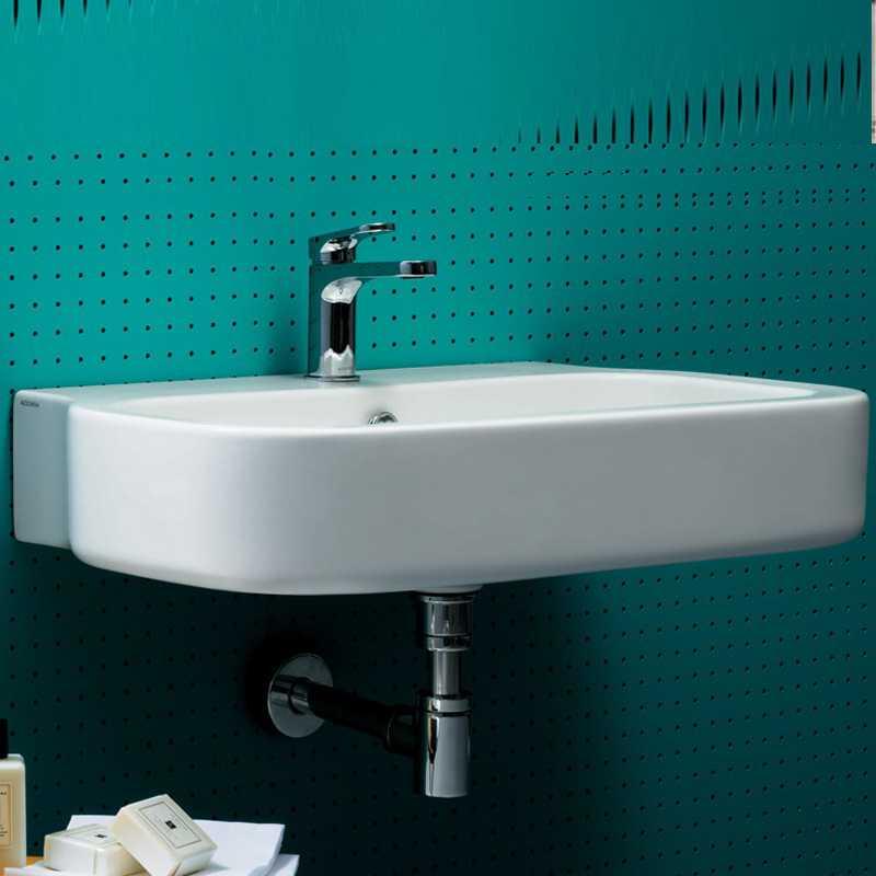 Lavabo Sospeso modello Glaze cm 75 Ceramica Azzurra Design Moderno Squadrato