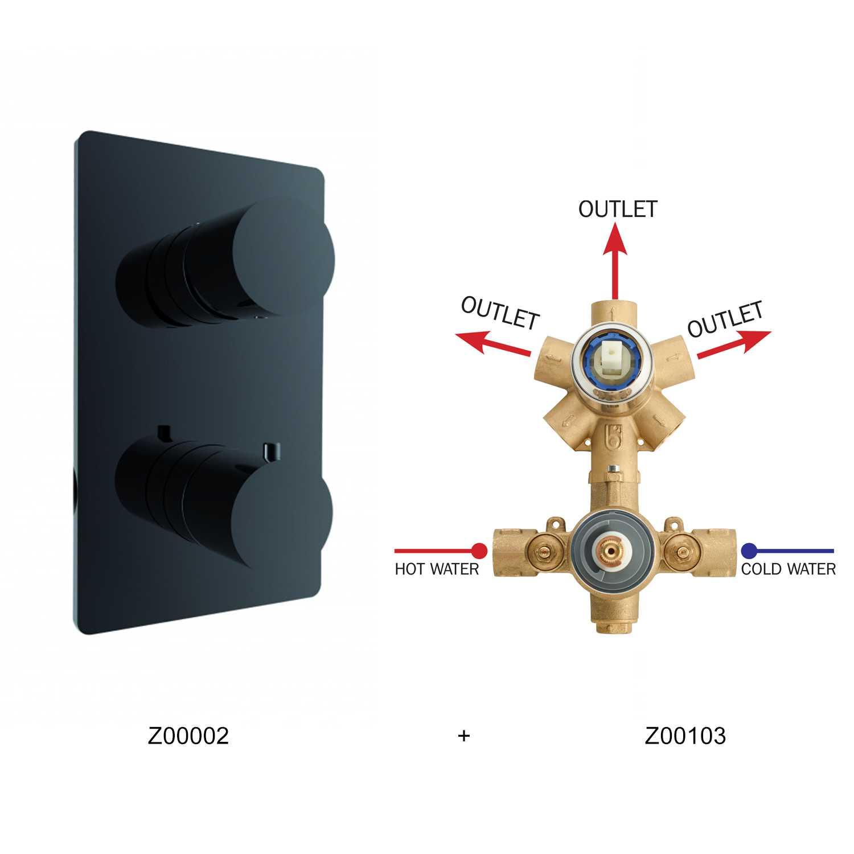 Miscelatore termostatico Bossini 3 uscite in ottone completo di parte incasso e parte esterna nera opaca