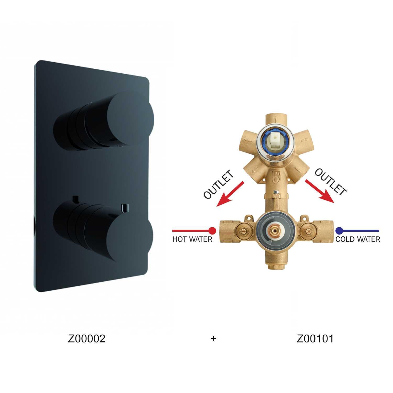 Miscelatore termostatico Bossini 2 uscite in ottone con parte incasso e parte esterna nera opaca