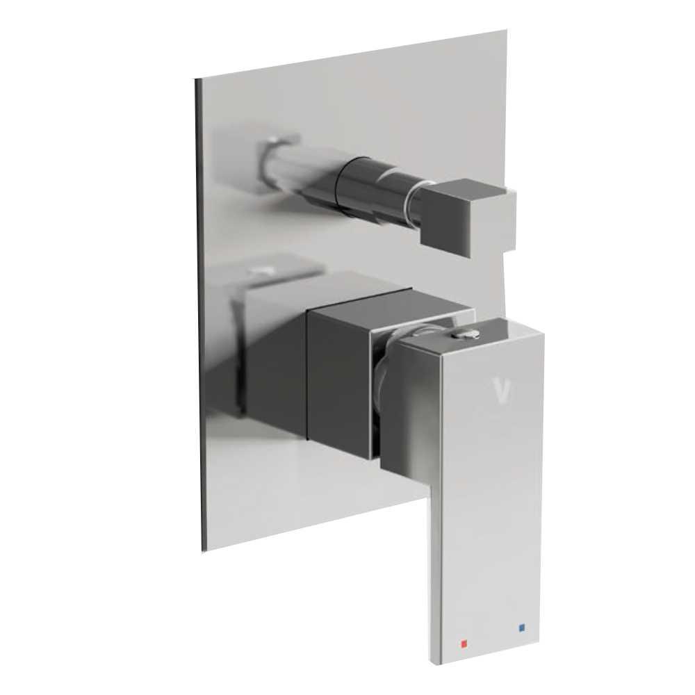 Miscelatore doccia incasso Square con deviatore 2 vie ottone cromato con placca Slim