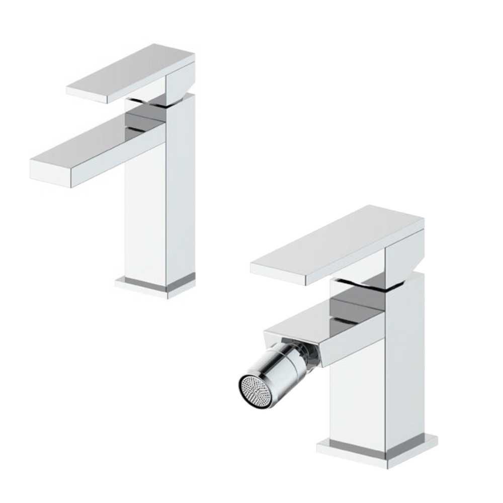 Composizione Square con miscelatore lavabo+ bidet in ottone cromato