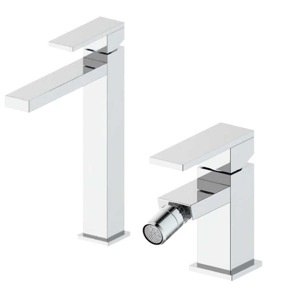 Composizione Square con miscelatore lavabo alto+ bidet ottone cromo con pilette di scarico