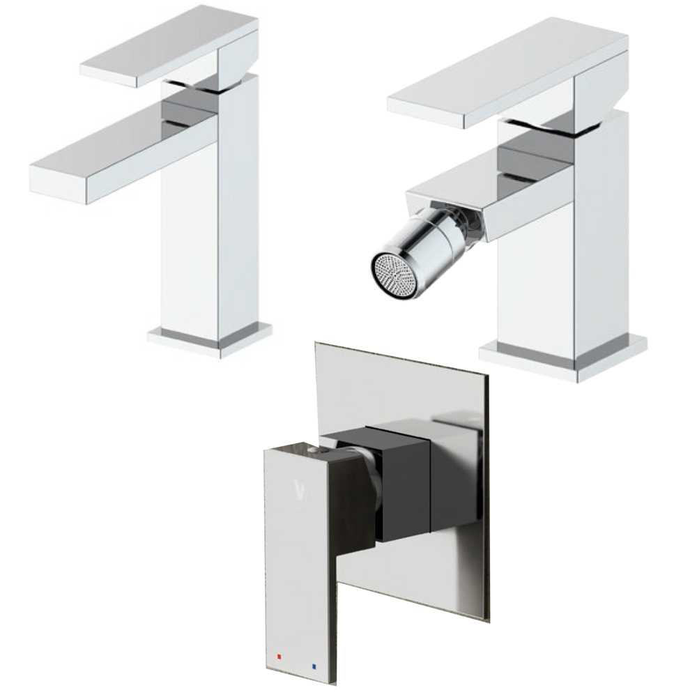 Composizione Square con miscelatore lavabo+bidet+doccia in ottone cromato