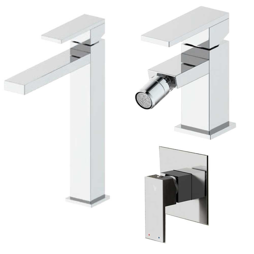 Composizione Square con miscelatore lavabo alto, bidete doccia ottone cromo