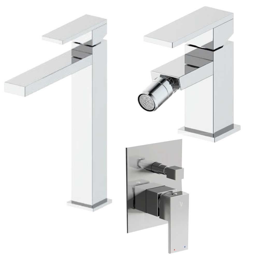 Composizione Square con miscelatore lavabo alto, bidet e doccia con deviatore 2 vie