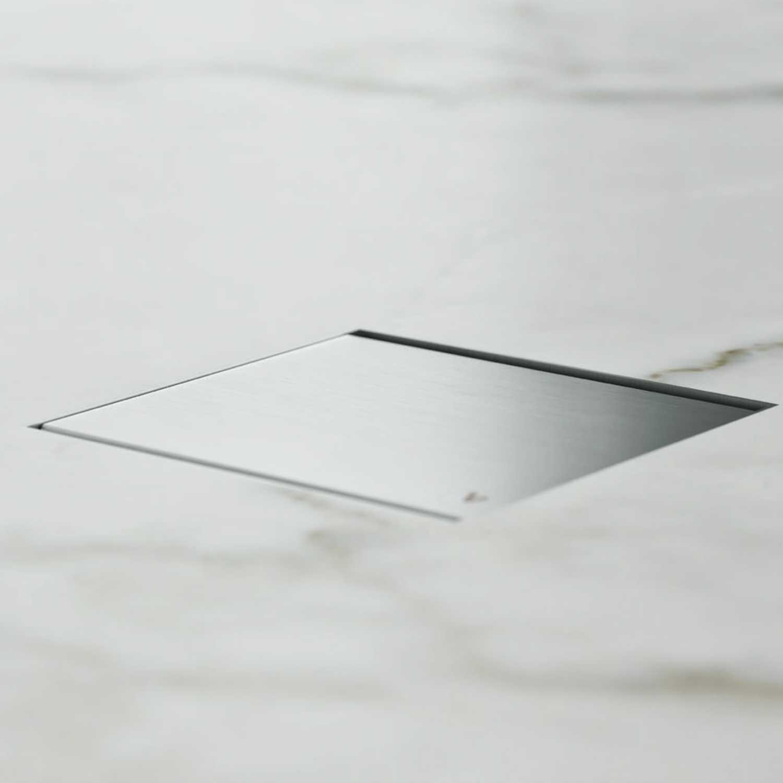 Canalina doccia incasso quadrata 15x15 cm con cover in full inox e scarico antiodore