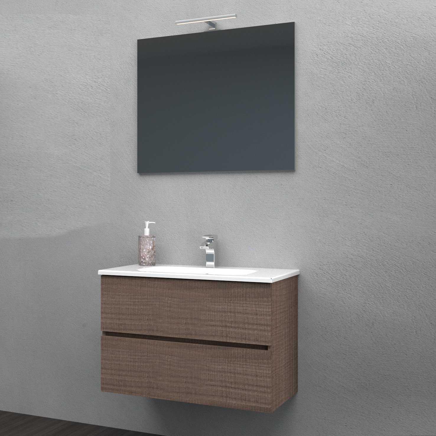 Mobile bagno sospeso KUBO 80x46 in noce tranchè con lavabo in mineralmarmo