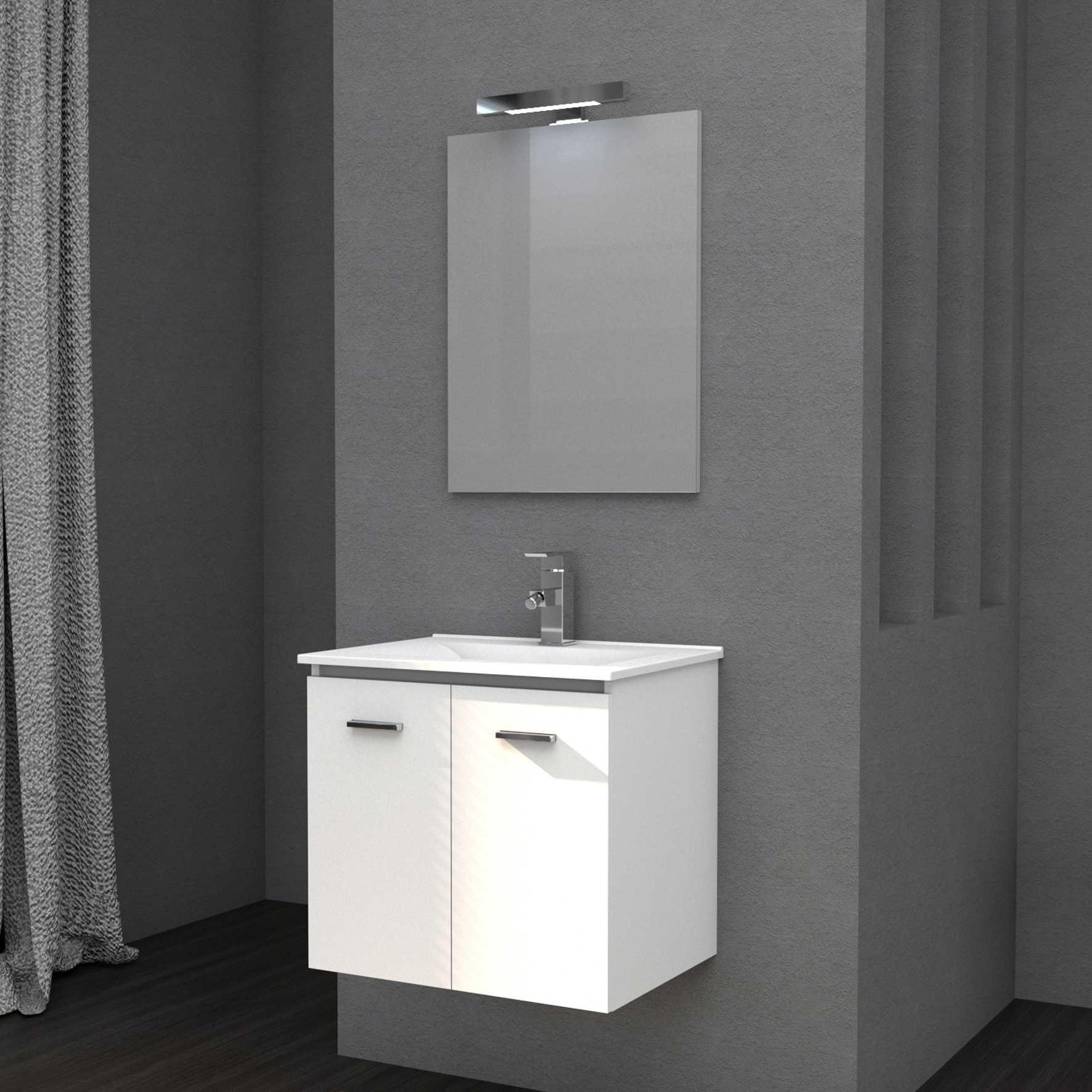 Mobile bagno sospeso FLY 61 cm 61x46 bianco lucido con lavabo in ceramica