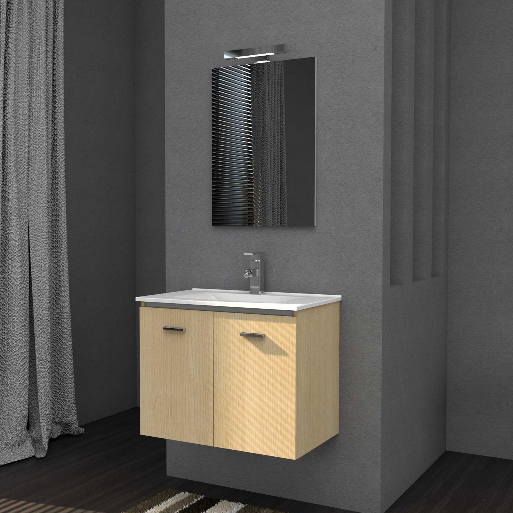 Mobile bagno sospeso FLY 61 cm 61x46 rovere con lavabo in ceramica