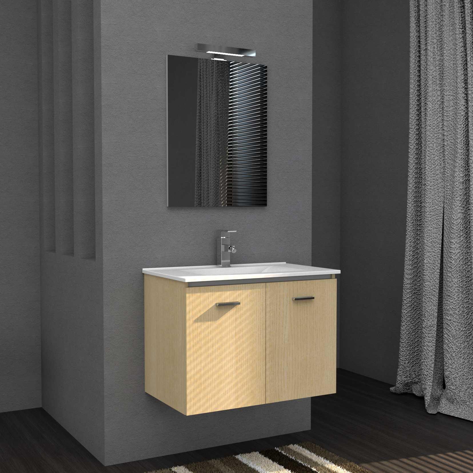 Mobile bagno sospeso FLY 75 cm 76x46 rovere con lavabo in ceramica