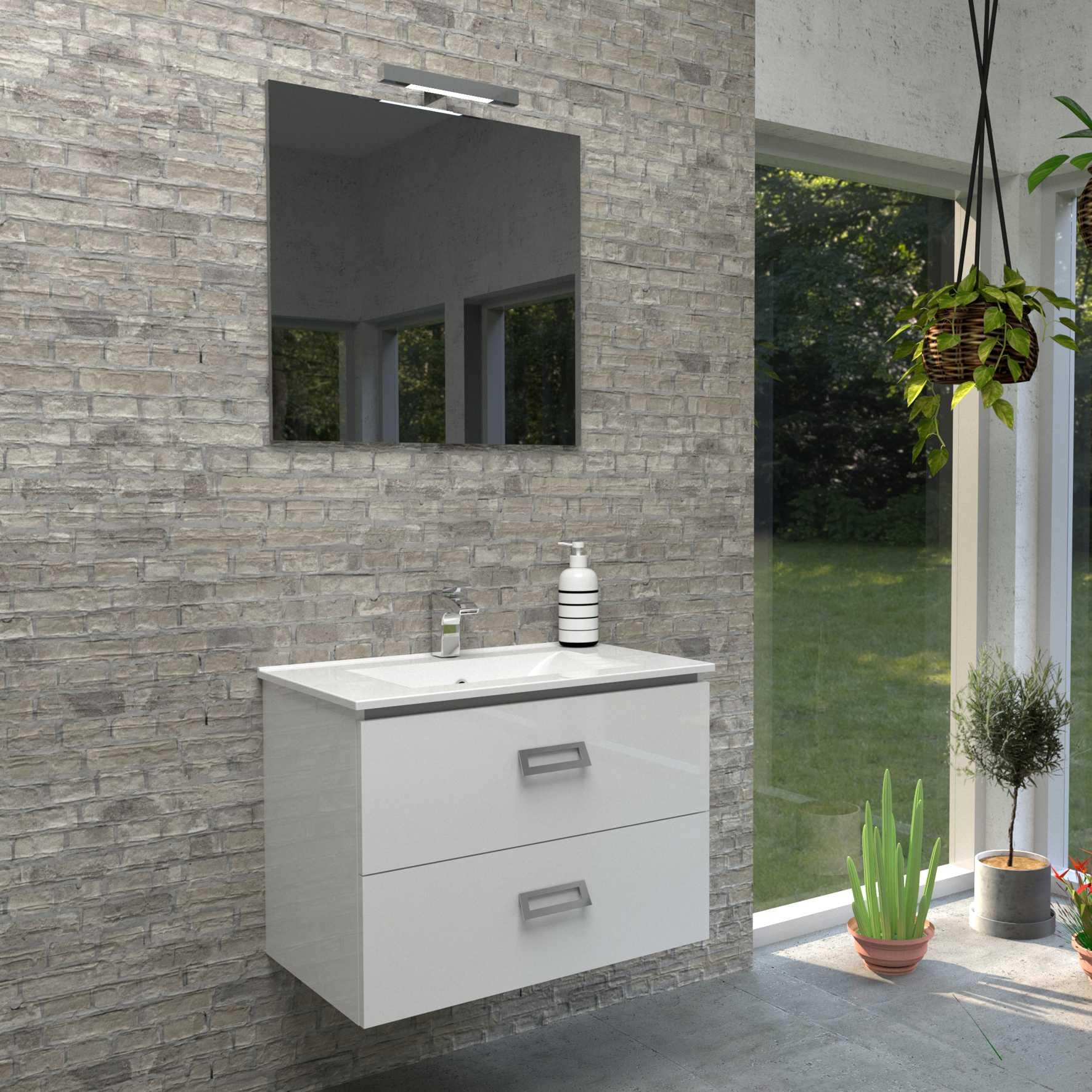 Mobile bagno sospeso QUADRO 75x46 cm bianco lucido con lavabo in ceramica