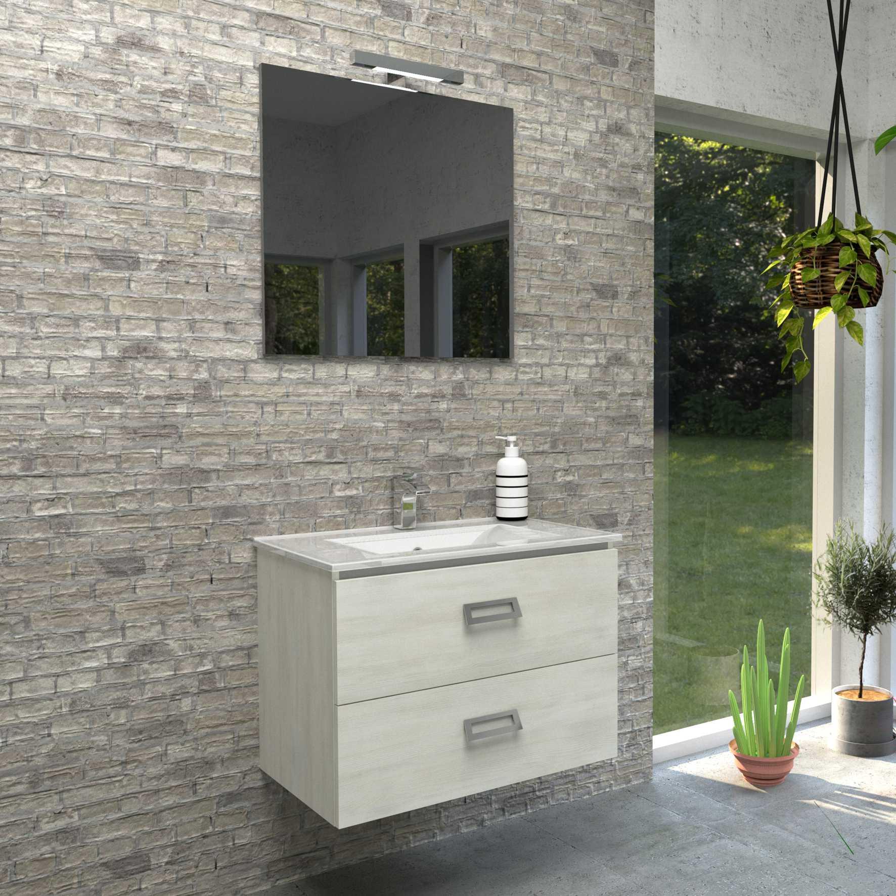 Mobile bagno sospeso QUADRO 75x46 cm bianco matrix con lavabo in ceramica