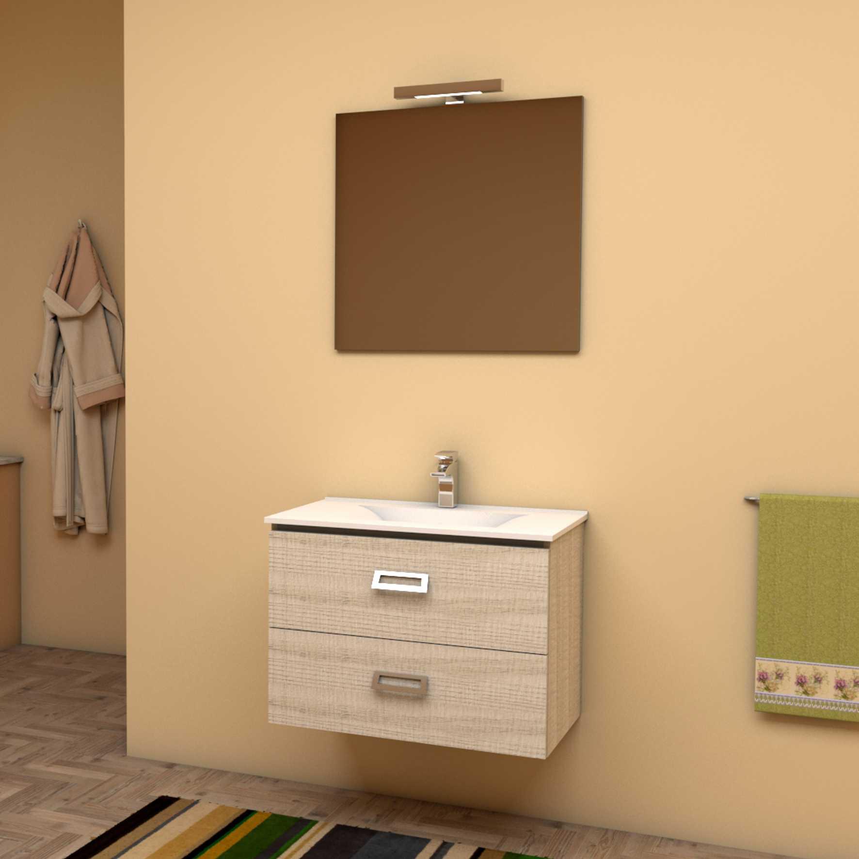 Mobile bagno sospeso QUADRO 75x46 cm frassino tranchè con lavabo in ceramica