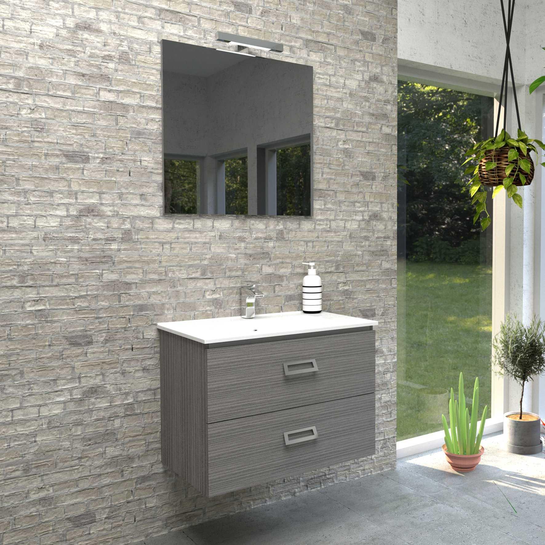 Mobile bagno sospeso QUADRO 75x46 cm grigio matrix con lavabo in ceramica