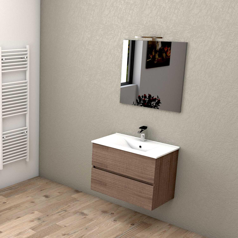 Mobile bagno sospeso HARMONY 75 cm 75x46 noce tranchè con lavabo in ceramica