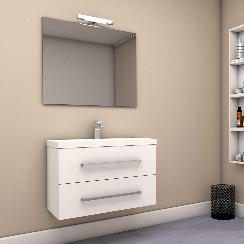 Mobile bagno sospeso GIUDI 80 cm 80x46 bianco lucido con cassetti chiusura ammortizzata