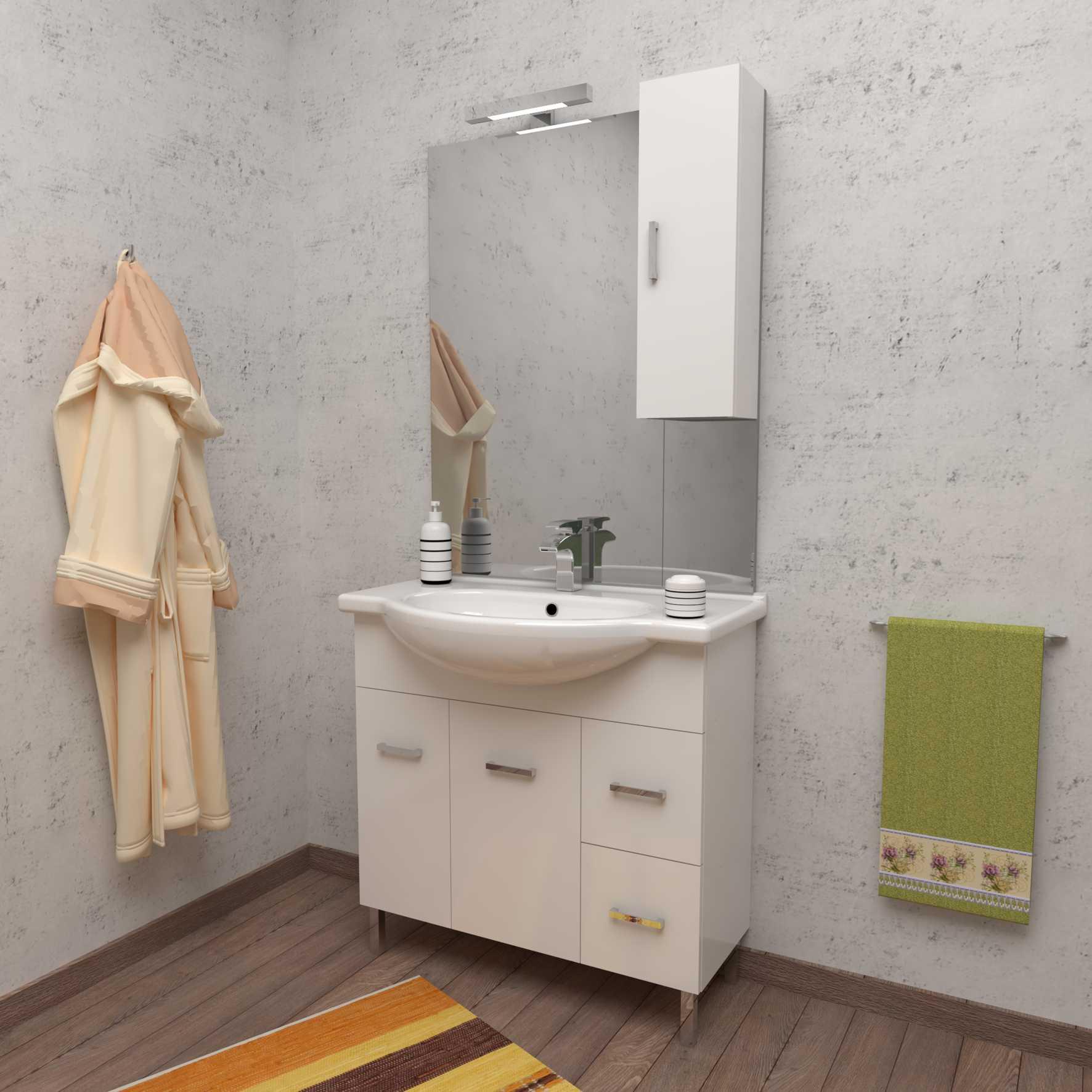 Mobile bagno a terra PALMA 85 cm 85x50 bianco lucido con lavabo in ceramica