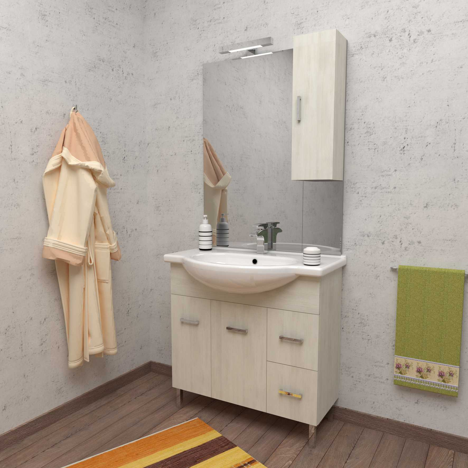 Mobile bagno a terra PALMA 85 cm 85x50 bianco larice con lavabo in ceramica