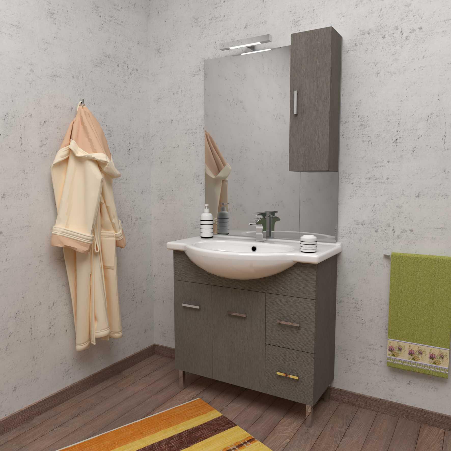 Mobile bagno a terra PALMA 85 cm 85x50 grigio larice con lavabo in ceramica