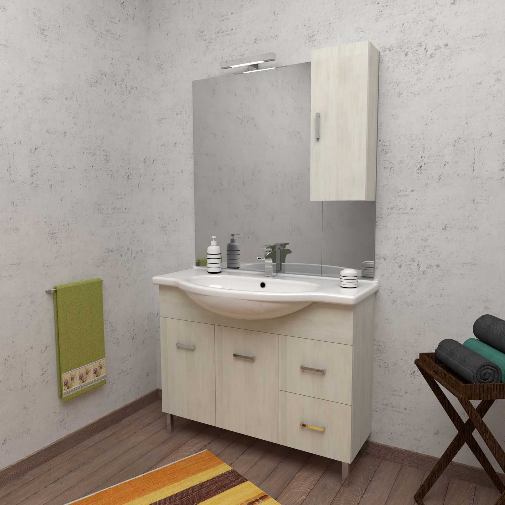 Mobile bagno a terra PALMA 105 cm 105x50 bianco larice con lavabo in ceramica