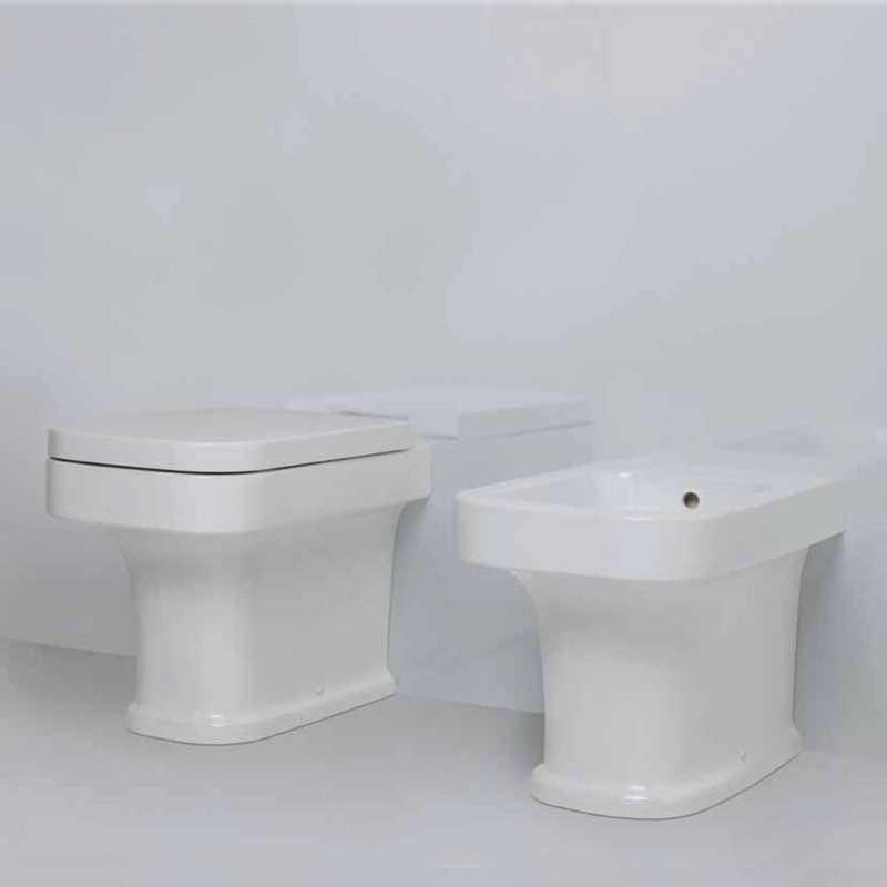 Sanitari filomuro ceramica bianca Azzurra Neo Tulip wc con sedile e bidet