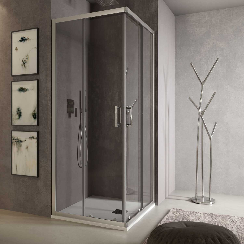 Box doccia angolare Loop 70x70 in alluminio e cristallo trasparente