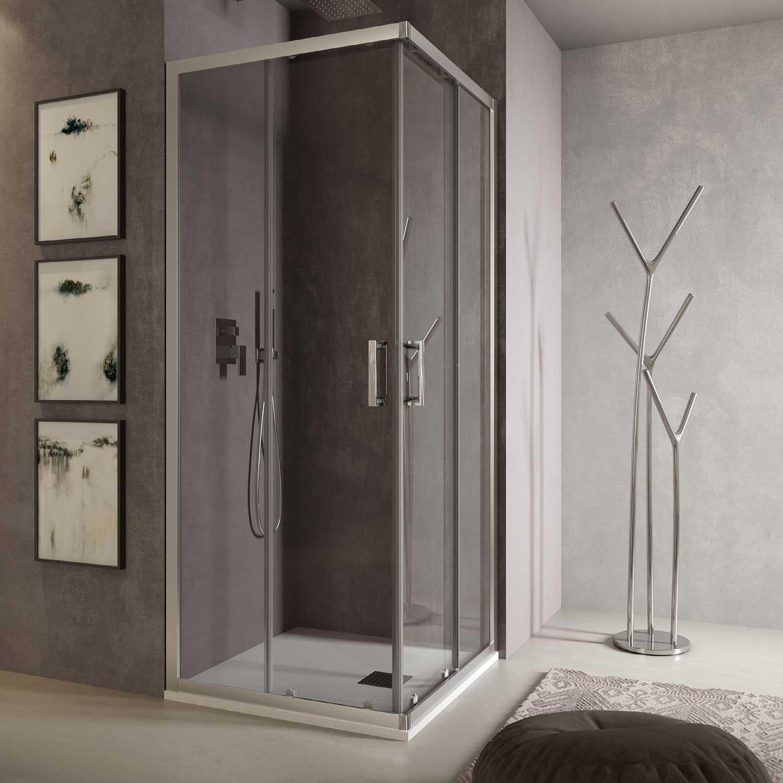 Box doccia angolare Loop 80x80 in alluminio e cristallo trasparente