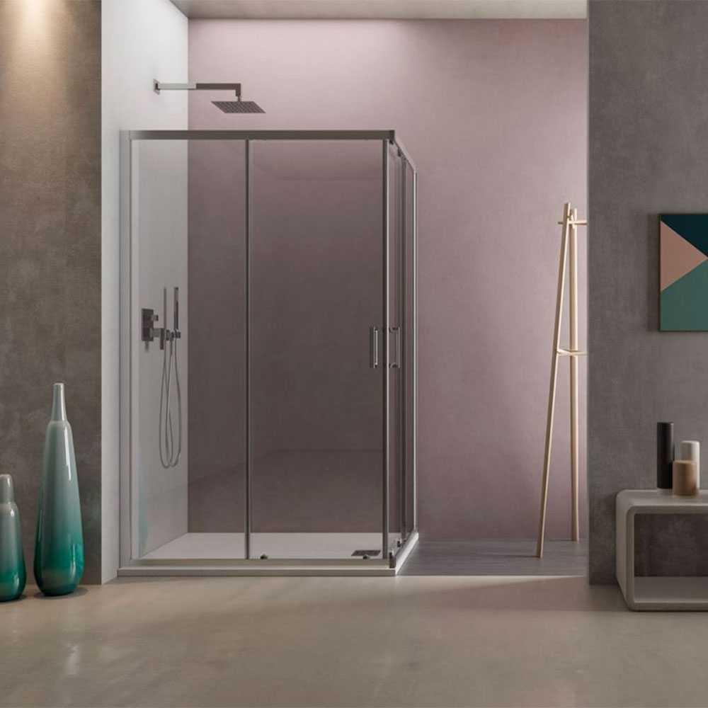 Box doccia angolare Loop 90x100 in alluminio e cristallo trasparente