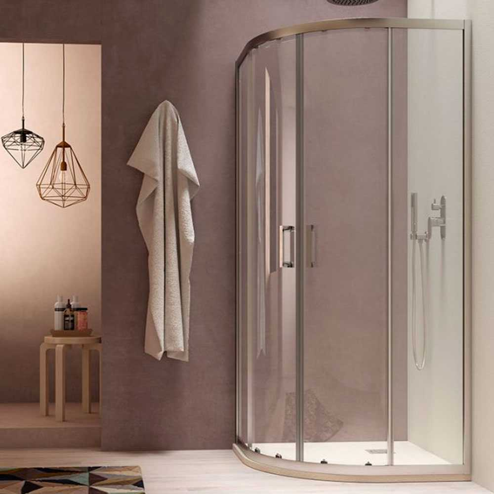 Box doccia semicircolare Loop 90x90 in alluminio e cristallo trasparente