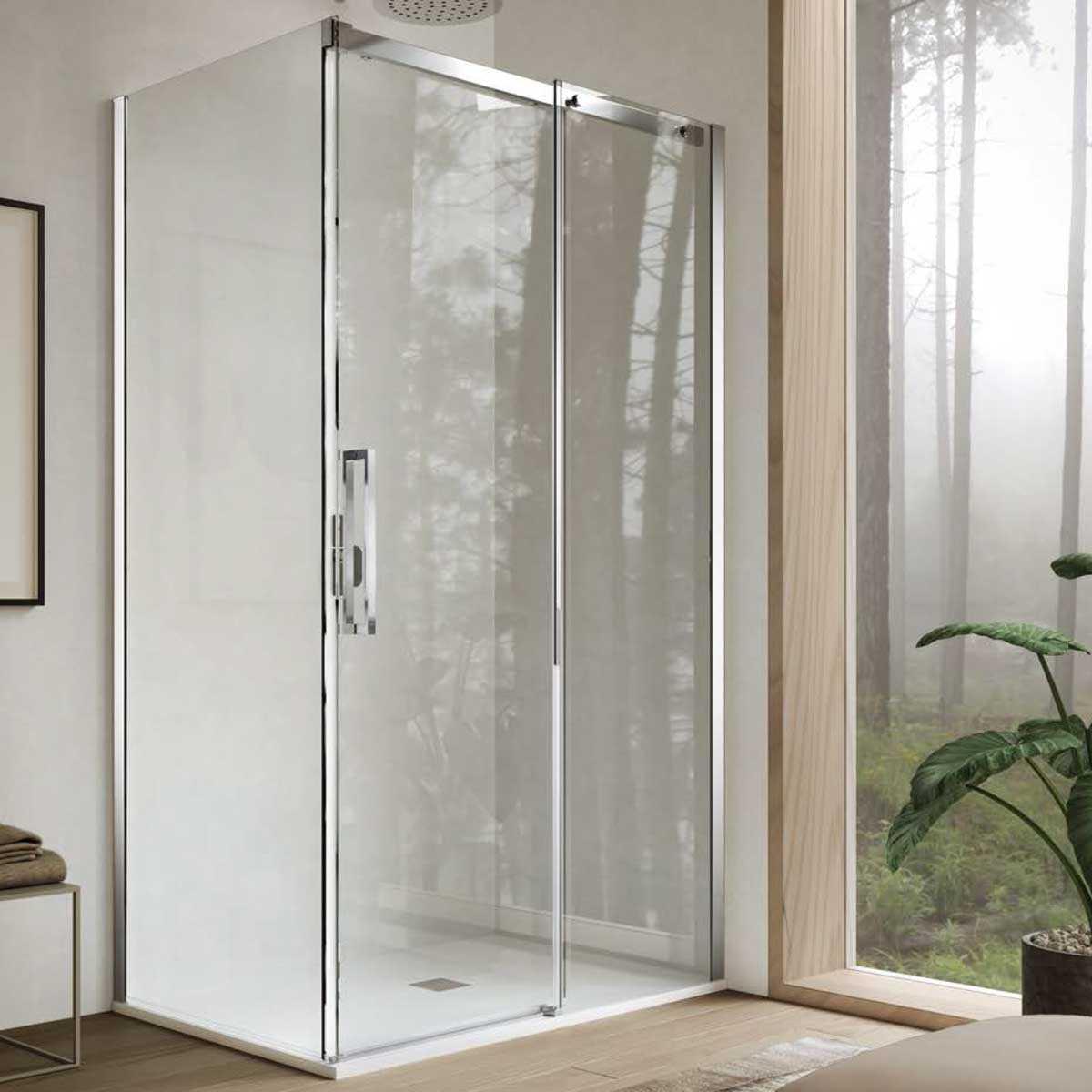 Box doccia angolare 80x120 Giove 2.0 in cristallo trasparente 6  mm e altezza 200 cm