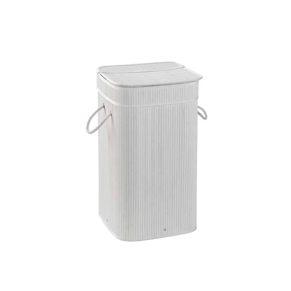 Cesto portabiancheria bianco Gedy Tatami con sacchetto estraibile e finitura bambù
