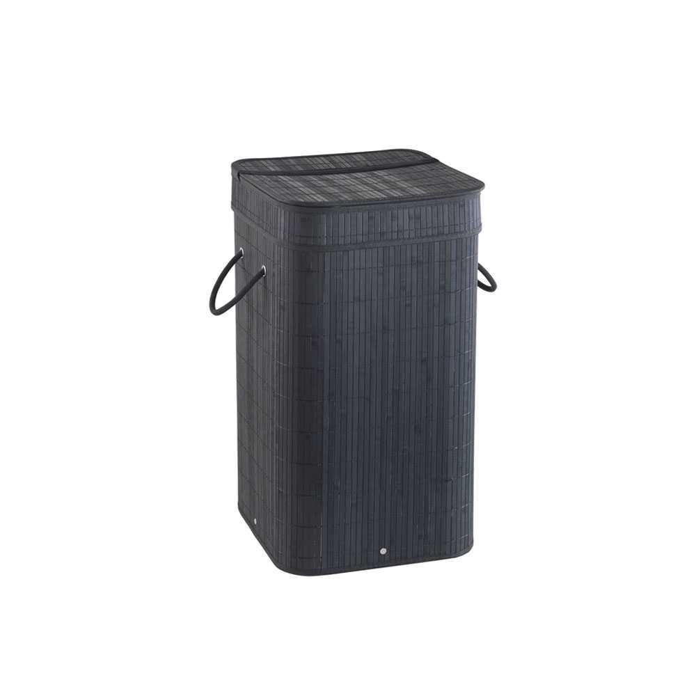 Cesto portabiancheria nero Gedy Tatami con sacchetto estraibile e finitura bambù